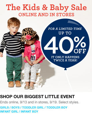 d68a794f9 GAP: The Kids & Baby Sale - Save up to 40% Off In-Stores and Online ...