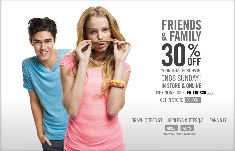Aeropostale Friends & Family Sale - 30 Off Your Purchase (Mar 23-24)