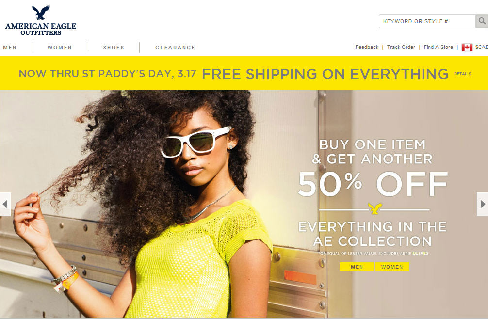 American Eagle Outfitters St Paddy's Day Sale - Buy One, Get One 50 Off + Free Shipping (Mar 16-17)