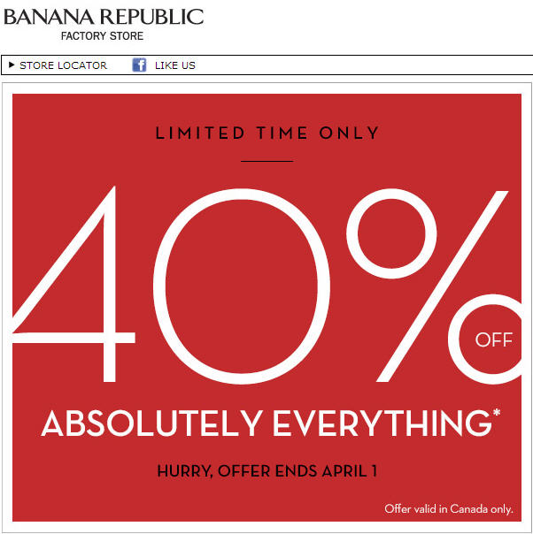 Banana Republic Factory Store 40 Off Everything (Until April 1)