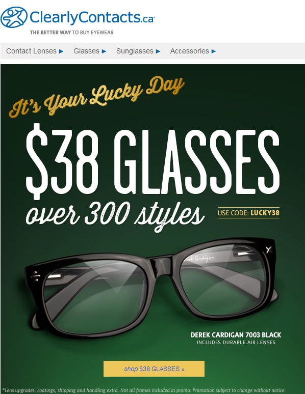 Clearly Contacts Biggest Sale of the Year - $38 Glasses Over 300 Styles (March 11-25)