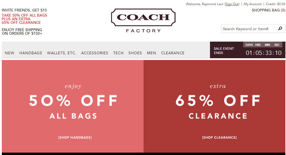 Coach Factory Online Store 50 Off All Bags OR Extra 65 Off Clearance (Until March 26, Noon EST)