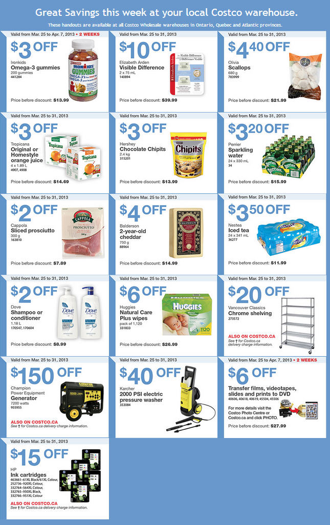 Costco Weekly Handout Instant Savings Coupons EAST (Mar 25-31)