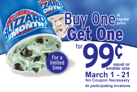 Dairy Queen Buy One Blizzard, Get One for 99 (March 1-21)