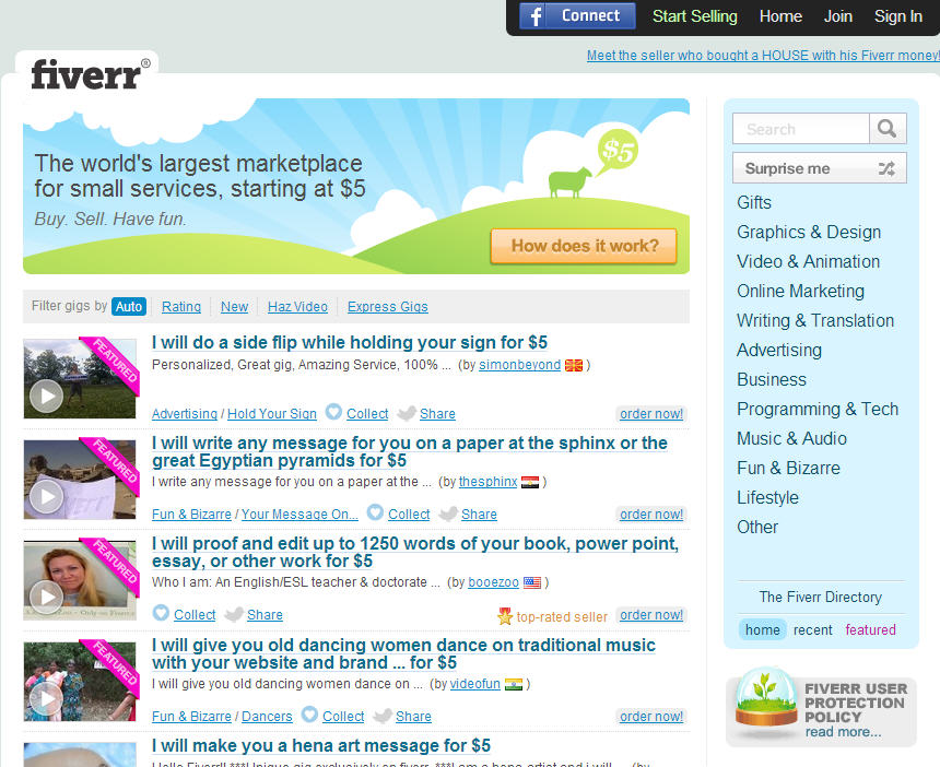 Fiverr Find Lots of Cool and Amazing Deals for $5