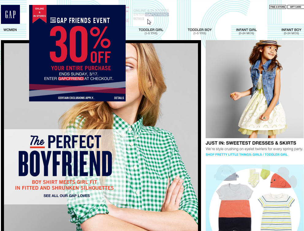 GAP Friends & Family Sale - 30 Off Your Purchase (Mar 14-17)