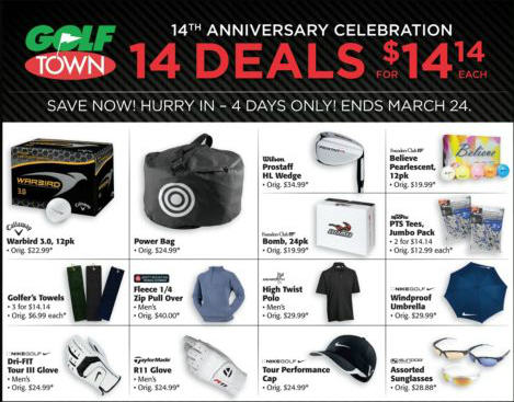 Golf Town 14 Deals for $14.14 Each (Until March 24)