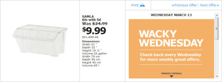 IKEA - Montreal Wacky Wednesday Deal of the Day (March 13) A