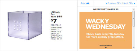 IKEA - Montreal Wacky Wednesday Deal of the Day (March 20) A