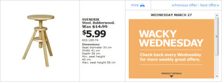 IKEA - Montreal Wacky Wednesday Deal of the Day (March 27)
