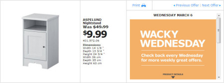 IKEA - Montreal Wacky Wednesday Deal of the Day (March 6)