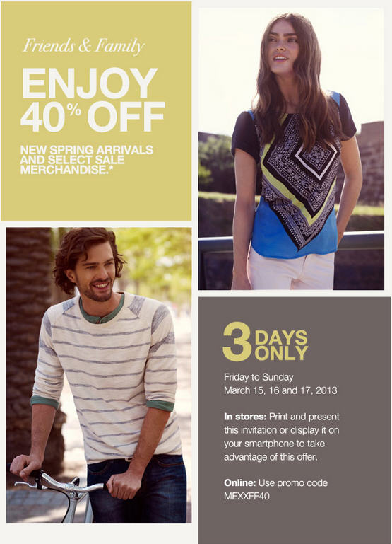 Mexx Friends & Family Sale - 40 Off All Regular-Priced and Select Sale Merchandise (Mar 15-17)