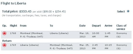 Montreal to Costa Rica