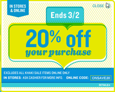Old Navy Save 20 Off In-Stores or Online (Mar 2)