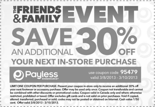 Payless Shoes Friends & Family Sale - Extra 30 Off In-Store Purchase (March 8-10)