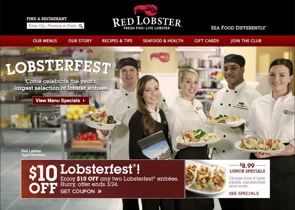 Red Lobster $10 Off Two Lobsterfest Entrees Coupon (Until Mar 24)