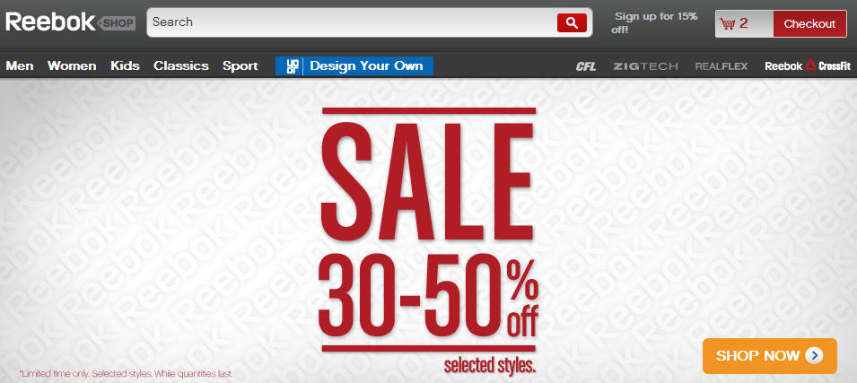 Reebok 30-50 Off Sale + Extra 25 Off Promo Code + Free Shipping