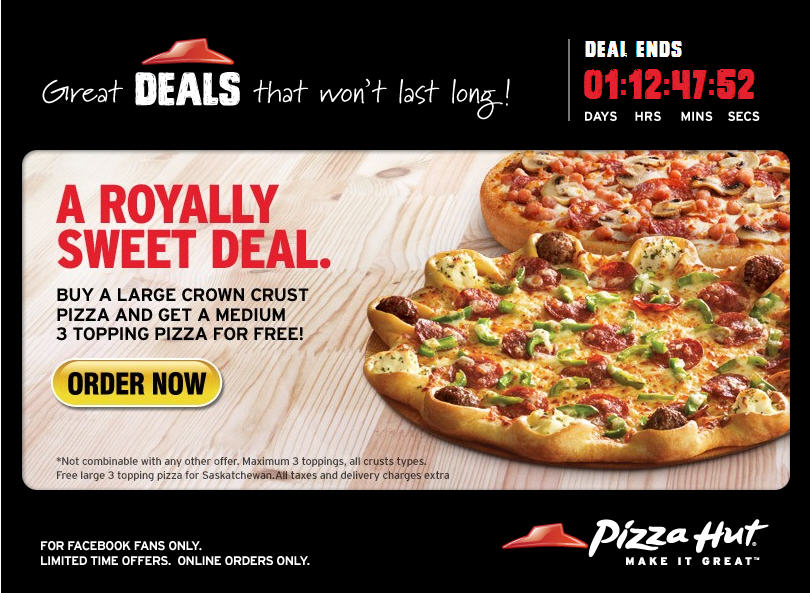 Medium 3-Topping Pizzas, Only $ at Pizza Hut! We'll send you a daily digest of the hottest deals and our best money-saving shopping tips, plus our FREE Quickstart Guide to Couponing!
