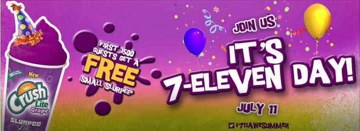 7-Eleven It's 7-11 Day - FREE Small Slurpee (July 11)