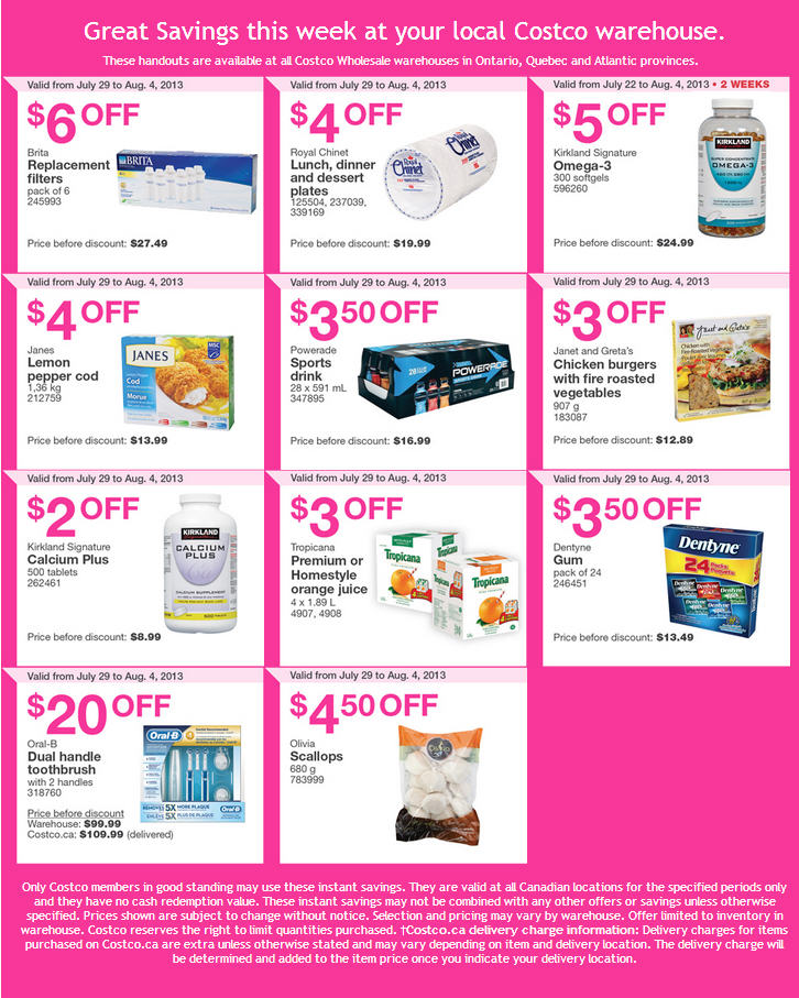 Costco Weekly Handout Instant Savings Coupons EAST (July 29 - Aug 4)