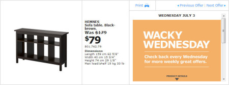 IKEA - Montreal Wacky Wednesday Deal of the Day (July 3) A