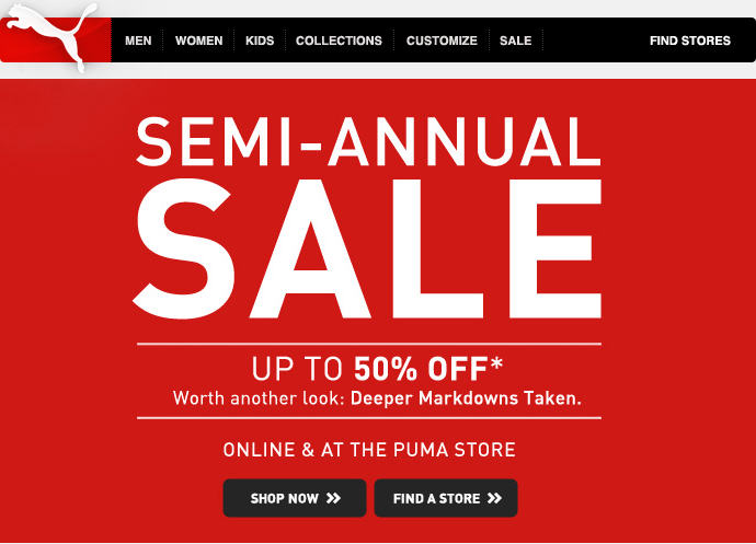 PUMA Semi-Annual Sale - Save up to 50 Off Deeper Markdowns Taken