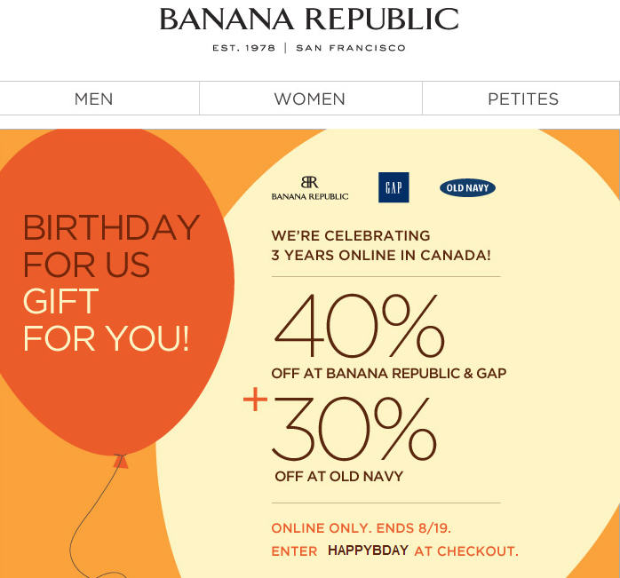 Banana Republic 40 Off All Merchandise. Online Only (Until Aug 19)