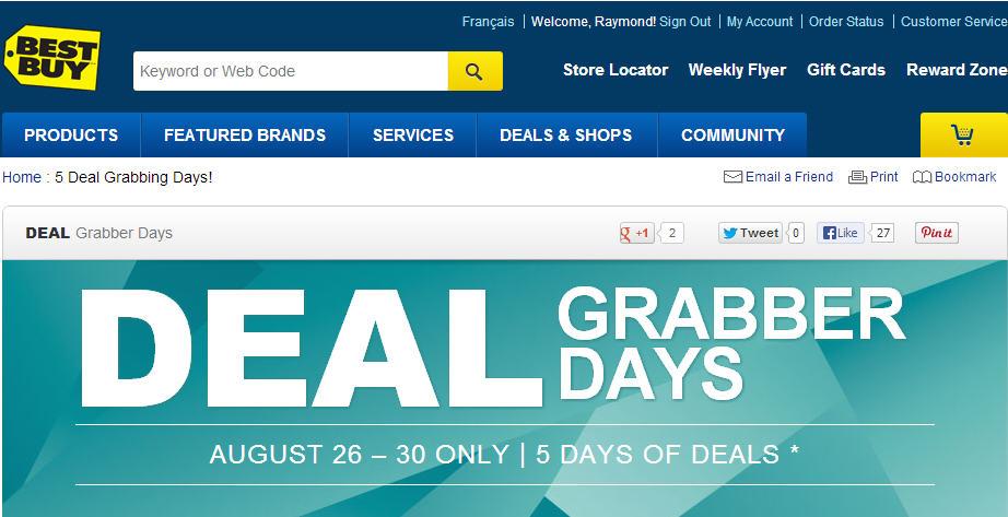 Best Buy Deal Grabber Days - 5 Days of Deals (Aug 26-30)