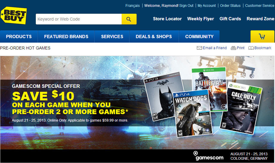 Best Buy Save $10 Off Each Game when you Pre-Order 2 or More Games (Aug 21-25)