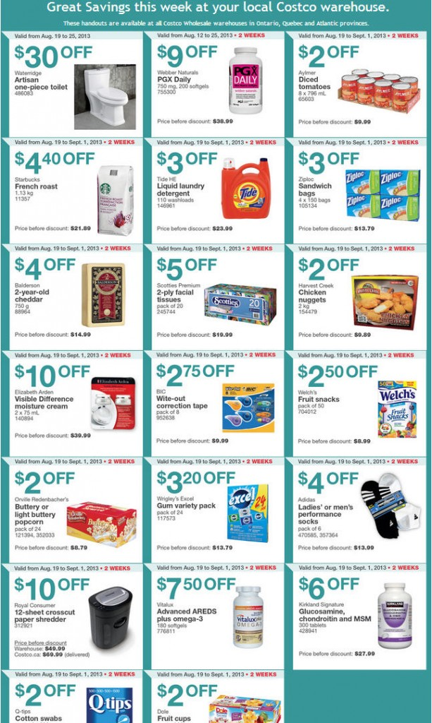 Costco Weekly Handout Instant Savings Coupons EAST (Aug 19 - Sept 1)