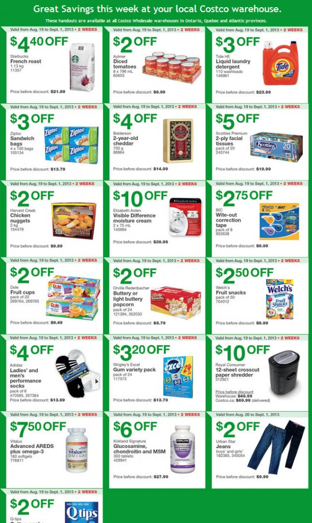 Costco Weekly Handout Instant Savings Coupons EAST (Aug 26 – Sept 1)