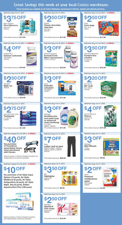 Costco Weekly Handout Instant Savings Coupons EAST (Aug 5-11)