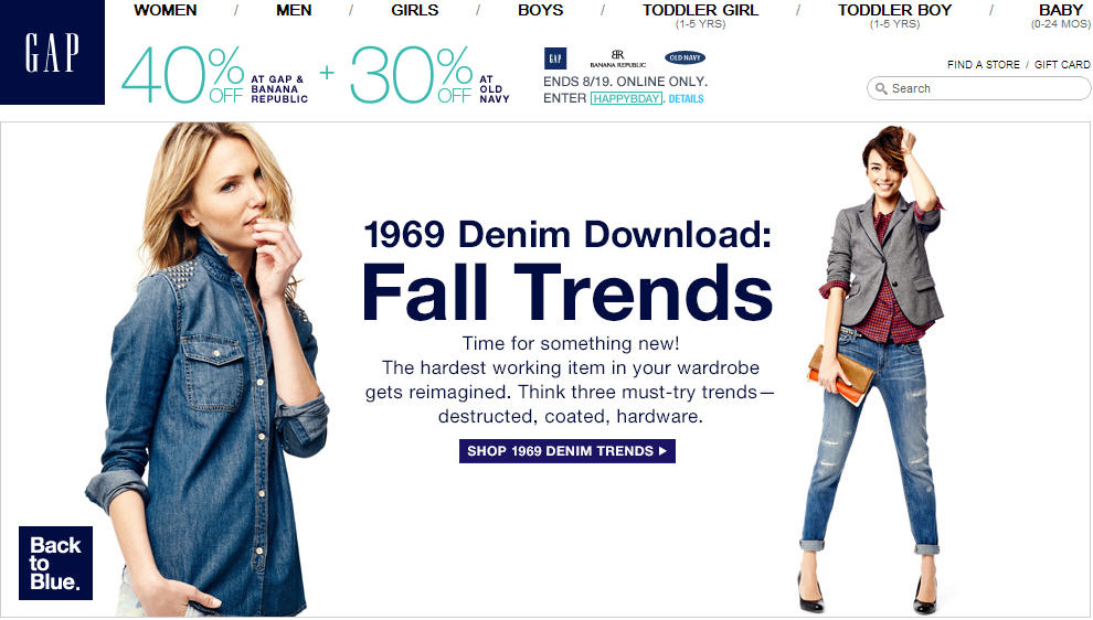 Gap 40 Off All Merchandise. Online Only (Until Aug 19)