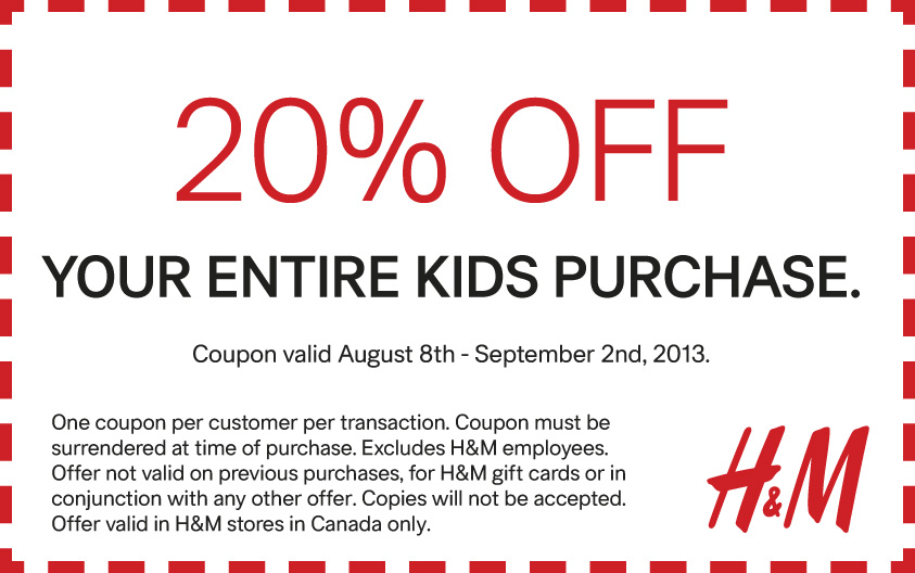 H&M 20 Off Entire Kids Purchase Coupon (Aug 8 - Sept 2)