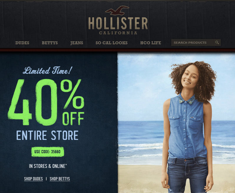 Hollister Co 40 Off Entire Store (Until Sept 2)