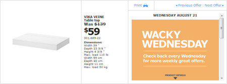 IKEA - Montreal Wacky Wednesday Deal of the Day (Aug 21) A
