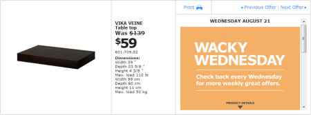 IKEA - Montreal Wacky Wednesday Deal of the Day (Aug 21) B