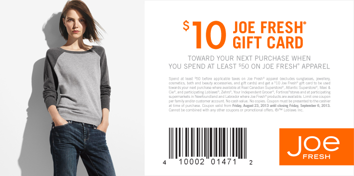 Joe Fresh Get $10 Gift Card when you Spend $50 (Until Sept 6)