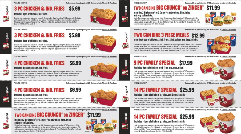 KFC New Printable Coupons (Until Oct 6)
