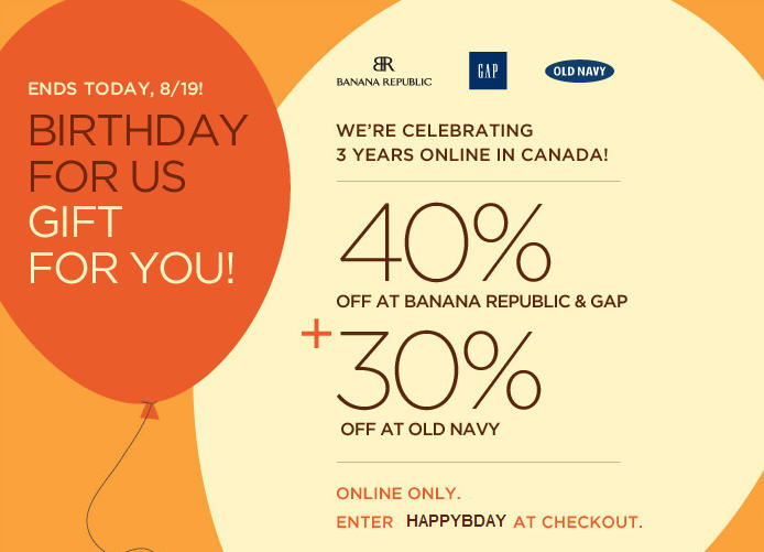 LAST CHANCE Gap & Banana Republic 40 Off Entire Purchase 30 Off at Old Navy (Until Aug 19)