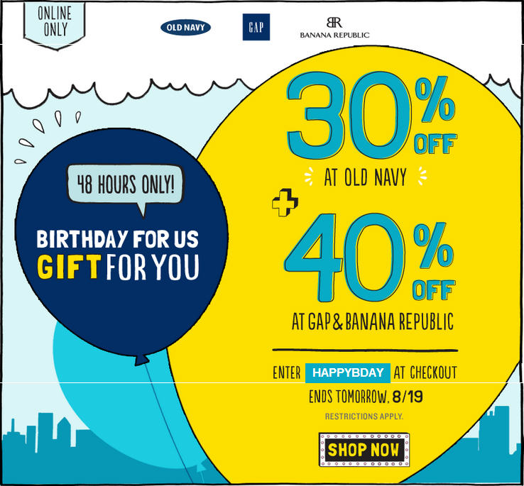 Old Navy 30 Off All Merchandise. Online Only (Until Aug 19)