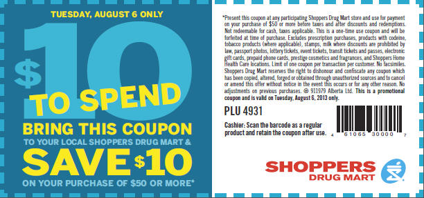 Shoppers Drug Mart $10 Off Coupon when you spend $50 (Aug 6)