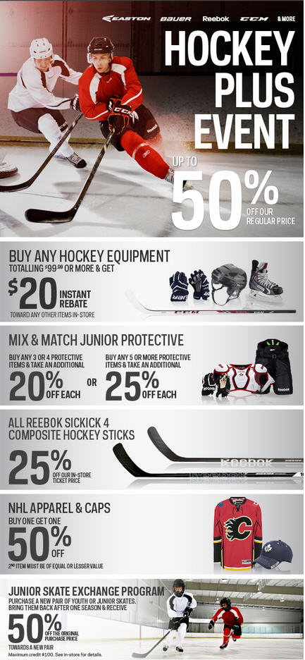 Sport Chek Hockey Plus Event - Save up to 50 Off