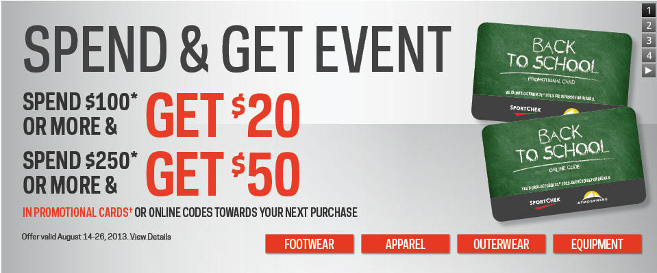 Sport Chek Spend & Get Event - Get a $20 or $50 Promotional Card (Aug 14-26)