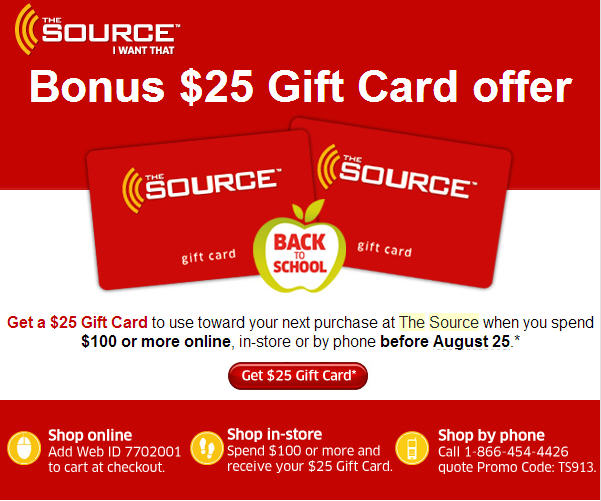 The Source Free $25 Gift Card when you Spend $100 (Aug 22-25)
