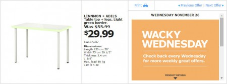 IKEA - Montreal Wacky Wednesday Deal of the Day (Nov 26)