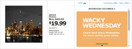 IKEA - Montreal Wacky Wednesday Deal of the Day (Dec 3)