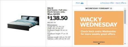 IKEA - Montreal Wacky Wednesday Deal of the Day (Feb 11) C