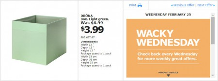 IKEA - Montreal Wacky Wednesday Deal of the Day (Feb 25) C