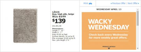 IKEA - Montreal Wacky Wednesday Deal of the Day (Apr 13) C